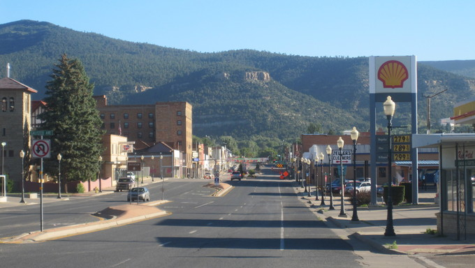 Raton, New Mexico. This is a small town and view of street near Farmington.