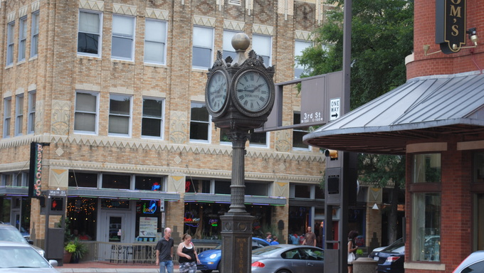 Clock post on a street corner on 3rd Street in downtown in Fort Worth, Texas.