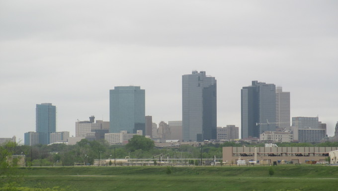 Skyline of Fort Worth on a foggy day.