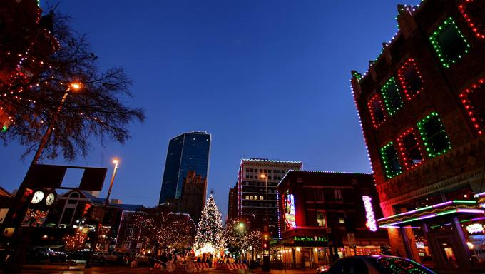 View of Sundance Square at night.