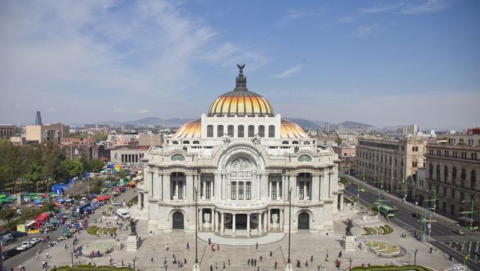 the impressive bellas artes building in mexico city