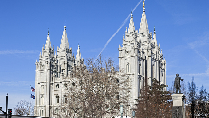 The Salt Lake Temple of The Church of Jesus Christ of Latter-day Saints located on Temple Square in Salt Lake City, Utah.