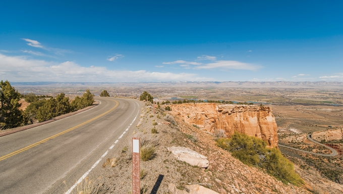 Colorado National Monument, a senic curved cliff road with a view of Fruita and Grand Junction, Colorado.