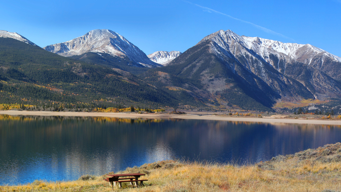A panorama of the Twin Lakes recreation area.