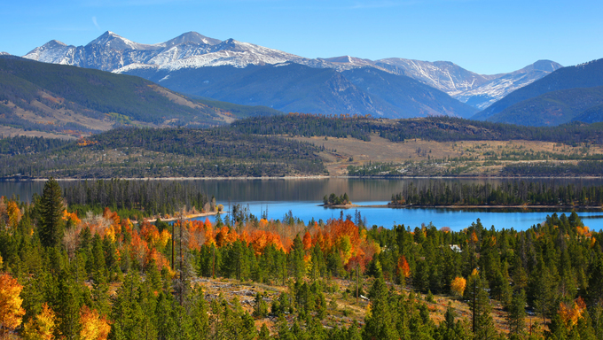 A view of the beautiful Dillon Reservoir in Central Colorado.