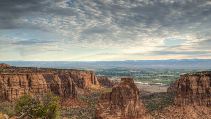 Colorado National Monument, a part of the National Park Service near the city of Grand Junction. Spectacular canyons cut deep into sandstone and even granite rock formations.