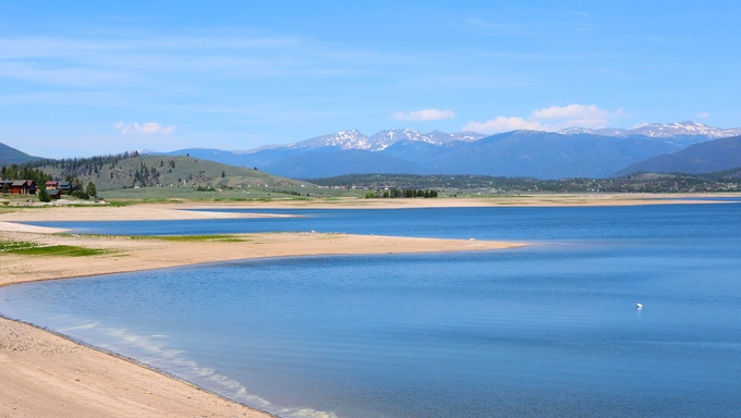 The shores of Lake Granby with The Great Rocky Mountains in background. Part of Arapaho National Recreation Area.