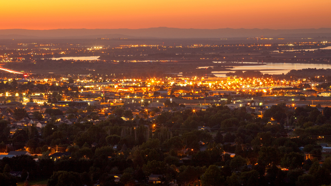 Amazing aerial view of Kennewick, WA at sunset.