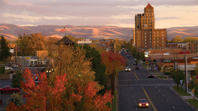 Downtown Walla Walla, WA, which is located near Kennewick.