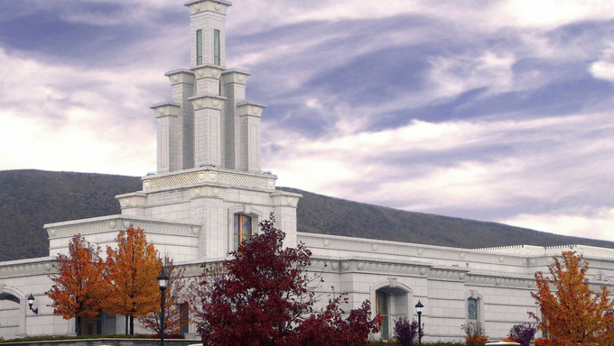 The Columbia River LDS Temple in autumn.