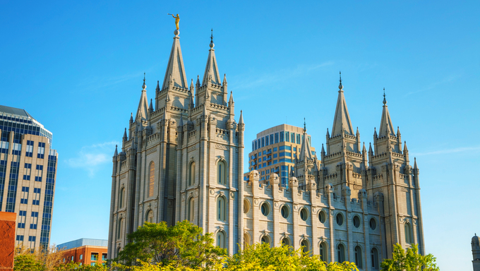 Mormons Temple in Salt Lake City, UT in the evening