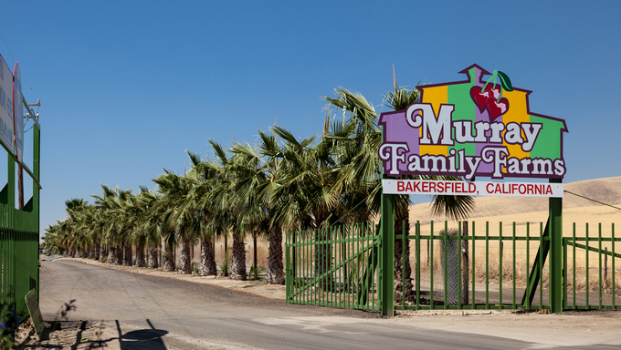 The entrance to Murray Family Farms, a large citrus farm in Bakersfield.