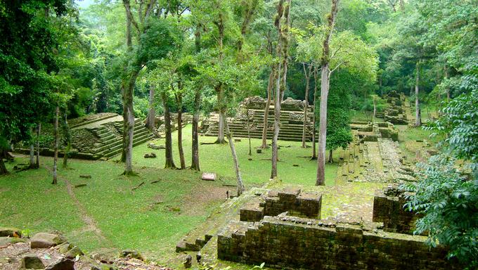 ancient mayan temple ruins - copan ruinas or copan ruins in Honduras