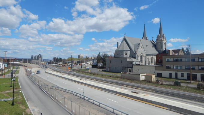 Freeway and church with a beautiful view in Utica.