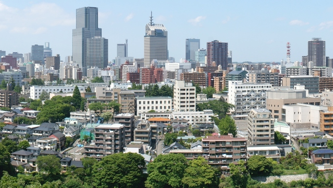 Sendai city panorama from the Atago Shrine.