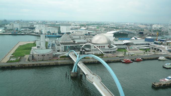 The bridge and Port of Nagoya Public Aquarium.