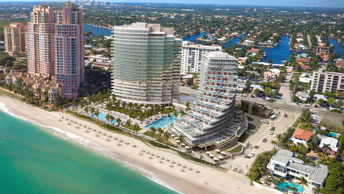 The Auberge Fort Lauderdale Condos along the bay.