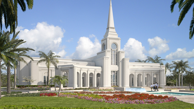 The predicted look for the Ft. Lauderdale LDS Temple.