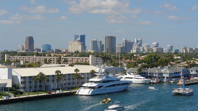 Yachts and skyline of Ft. Lauderdale, Florida.