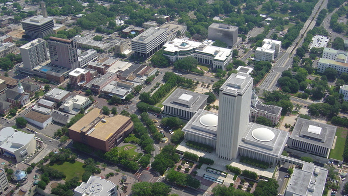 Aerial view of downtown Tallahassee.
