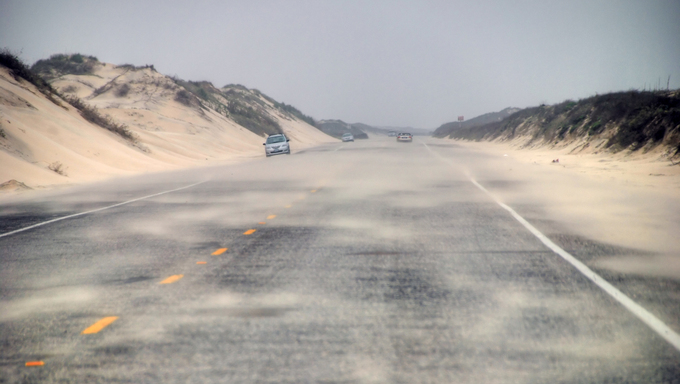 A road on South Padre Island.