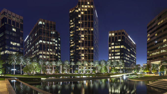 Panorama of buildings at dusk in Irvine.