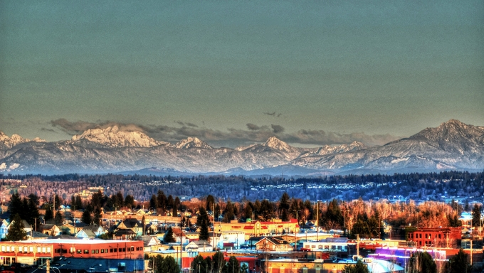 Downtown Everett with gorgeous mountains in the background.