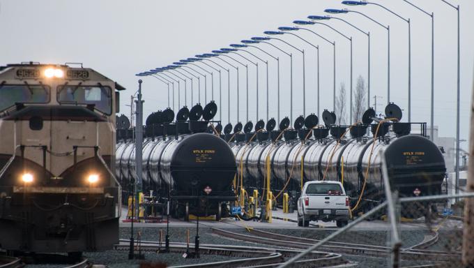 Oil trains in the Everett railyards.