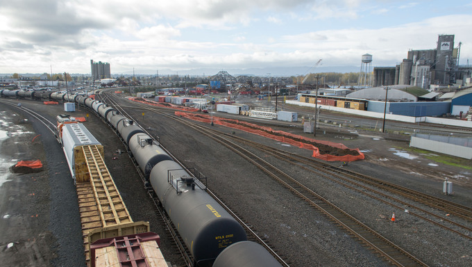 BNSF Railroad Yard overlooking the city of Vancouver.