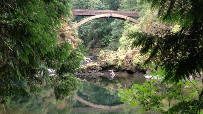 Beautiful forest park and bridge near Vancouver, WA.