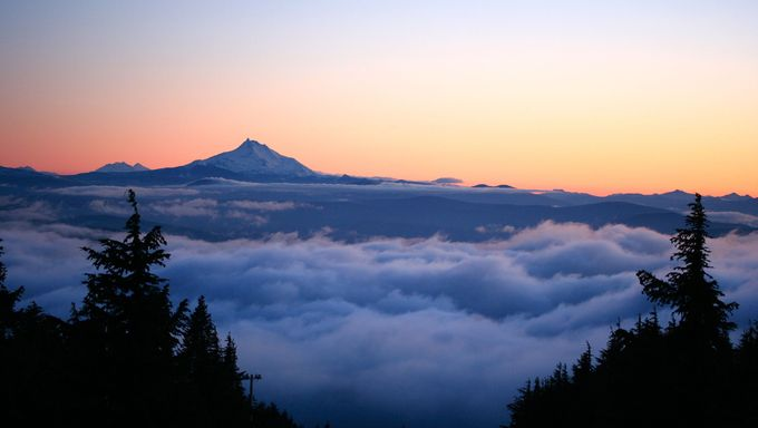 Sunset view from Mt Hood looking out at Mt. Jefferson. These mountains are just south of Vancouver.