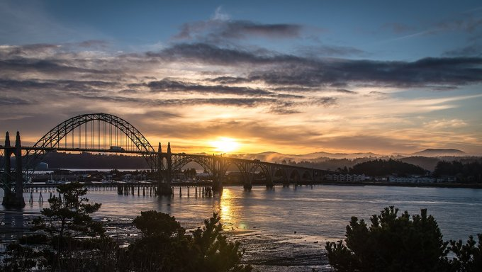 Yaquina Bay, on the coast of Oregon about two hours northeast of Eugene.