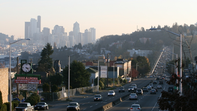 Aurora Avenue with the George Washington Memorial Bridge and downtown Seattle in the background. Near Federal Way.
