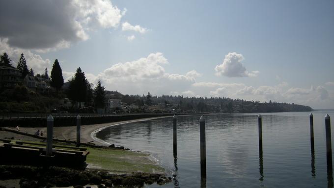 Lake and boardwalk in Federal Way, WA.