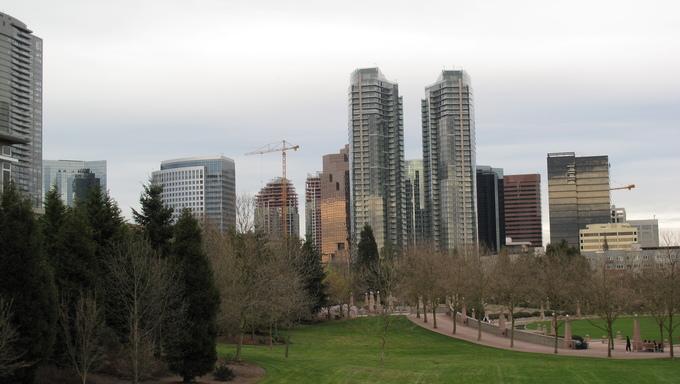 Downtown Skyline of Bellevue. Near Federal Way, WA.