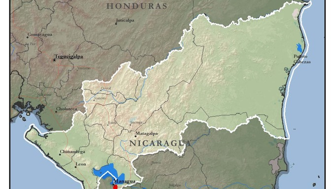Map of the Nicaragua Managua North Mission of The Church of Jesus Christ of Latter-day Saints (LDS Church).