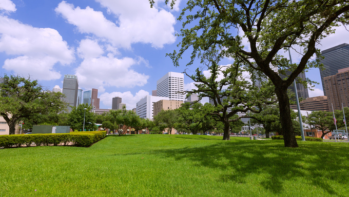 Houston skyline and cityscape, taken from a park in Southern Houston.