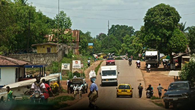 A shot of the main road in Kakata