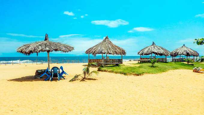 A private beach on the Pacific Ocean in Liberia.