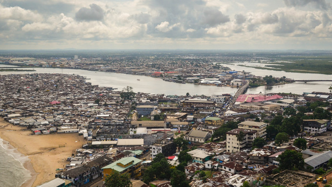 An aerial view of the slums of Monrovia.