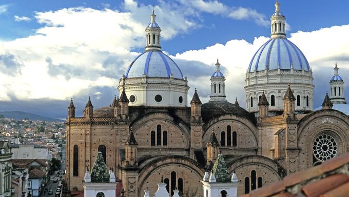 This image shows Cuenca, Ecuador's Domes Cathedral