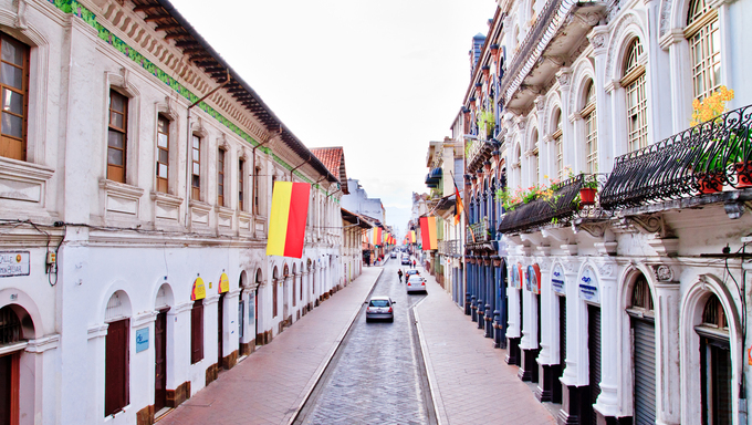 Streets of Cuenca, Ecuador during the festivities, old town