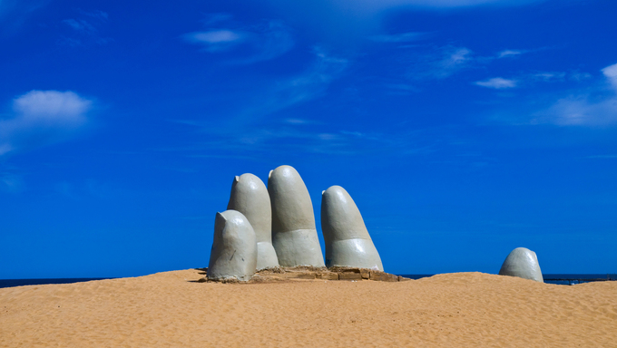 """The Hand"" a famous sculpture in Punta del este, Uruguay"