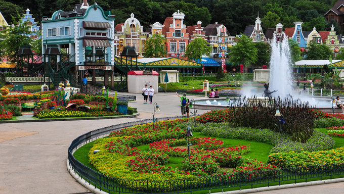 "A piece of land known as ""Little Holland"" in Everland, South Korea."