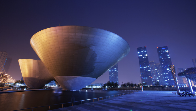 Beautiful night view of Songdo Central Park near Incheon.