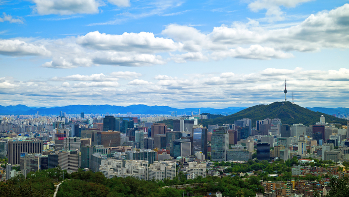 A panoramic view showing the skyline of Seoul, South Korea.