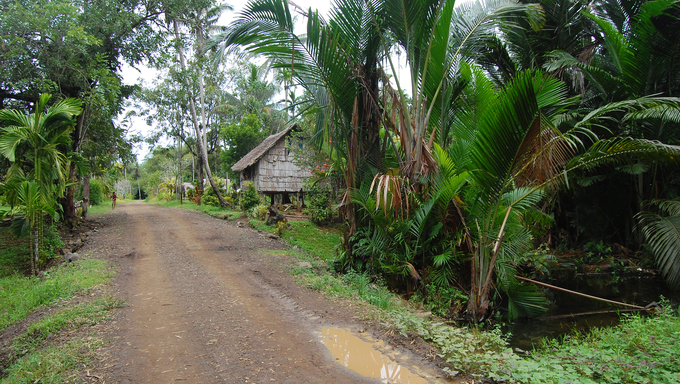 Gravel road in village Papua New Guinea