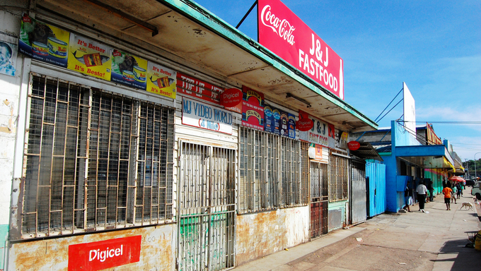 Street with closed stores in Port Moresby, Papua New Guinea