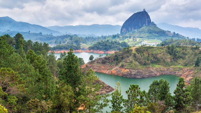 View of The Rock near the town of Guatape, Antioquia in Colombia