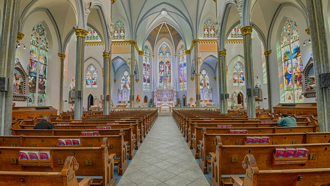 JACKSONVILLE, FLORIDA - JANUARY 18, 2015 : Interior of Immaculate Conception Catholic Church in Downtown Jacksonville. HDR processed.